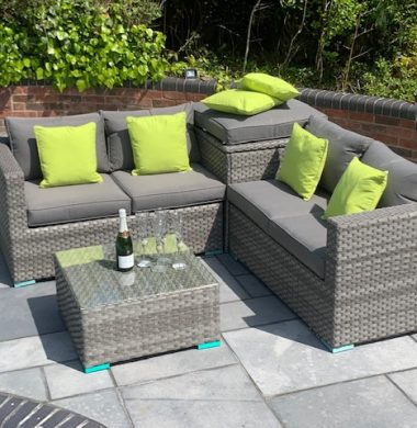 4 Piece Hartford Luxury Rattan Complete Storage Sofa Set in Luxury Ribbon Grey Mix Weave