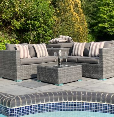 4 Piece Hartford Classic Rattan Complete Storage Sofa Set in Grey Mix Weave