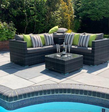 4 Piece Hartford Classic Rattan Complete Storage Sofa Set in Grey/Black Mix Weave