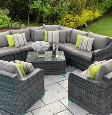 Denver Curved Rattan Complete Sofa Set in Classic Grey/Black Weave mix