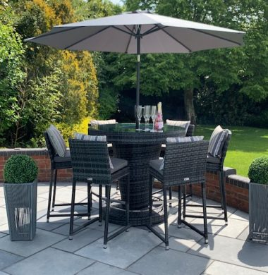 Hudson Classic Rattan Complete Bar Set in Grey/Black Mix Weave
