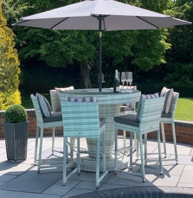 Hudson Luxury Rattan Complete Bar Set in Grey/White Mix Weave
