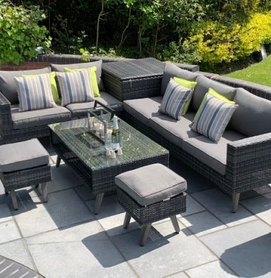 6 Piece Lakewood Classic Rattan Complete Storage Sofa Set in Grey/Black Mix Weave