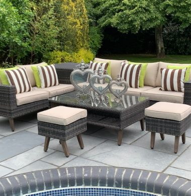 6 Piece Lakewood Classic Rattan Complete Storage Sofa Set in Brown/Black Mix Weave