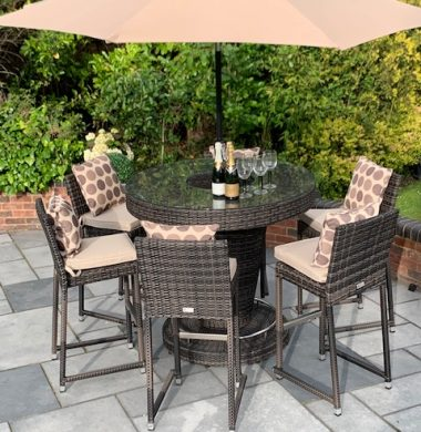 Hudson Classic Rattan Complete Bar Set in Brown Black Mix Weave