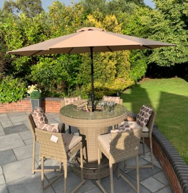 Hudson Luxury Rattan Complete Bar Set in Grey/Sand Mix Weave EX DISPLAY £400 OFF ONE LEFT