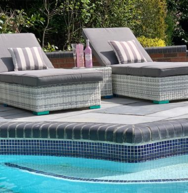 Tampa Luxury Wheeled Pool Lounger Set in Grey/White Mix Weave