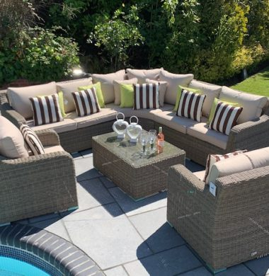 Denver Curved Rattan Complete Sofa Set in Luxury Grey/Sand Weave mix