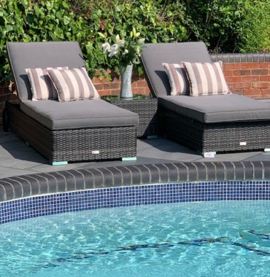 Tampa Classic Wheeled Pool Lounger Set in Grey/Black Mix Weave