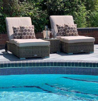 Tampa Luxury Wheeled Pool Lounger Set in Grey/Sand Mix Weave