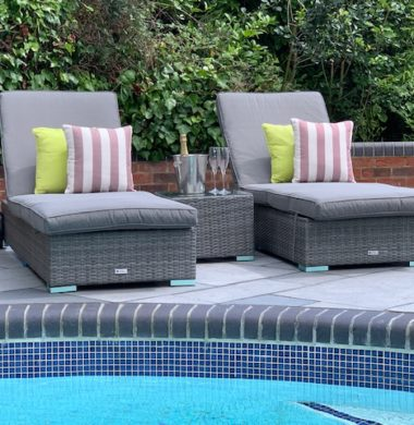 Tampa Classic Wheeled Pool Lounger Set in Grey Mix Weave