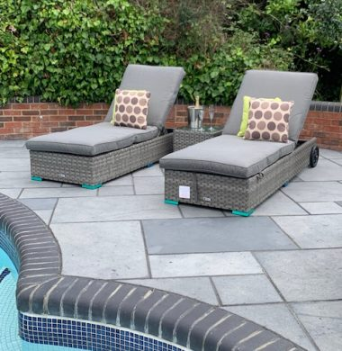 Tampa Luxury Pool Lounger Set in Luxury Ribbon Grey Mix Weave