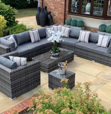 8 Piece Georgia Classic Rattan Complete Sofa Set in Grey/Black mix Weave