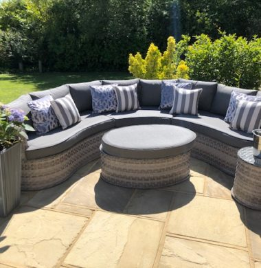 Naples Curved Rattan Complete Sofa Set in Luxury Ribbon Grey Weave mix