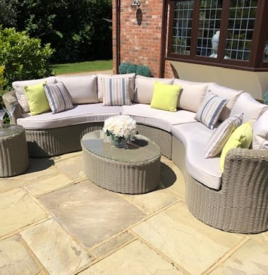 Naples Curved Rattan Complete Sofa Set in Luxury Grey/Sand Weave mix
