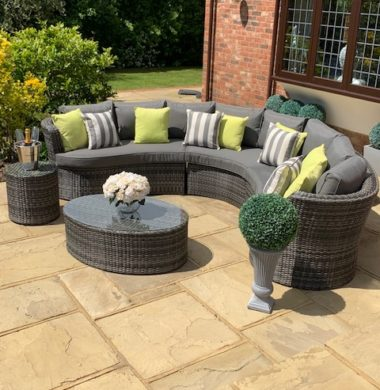 Naples Curved Rattan Complete Sofa Set in Classic Grey/Black Weave mix