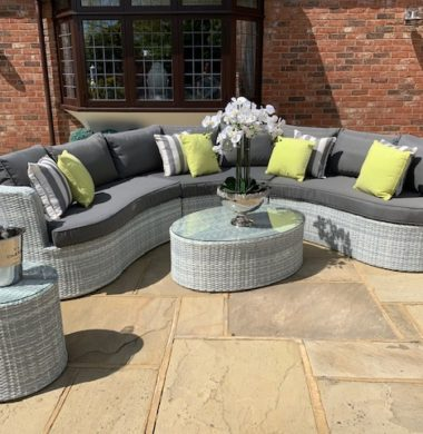 Naples Curved Rattan Complete Sofa Set in Luxury Grey/White Weave mix