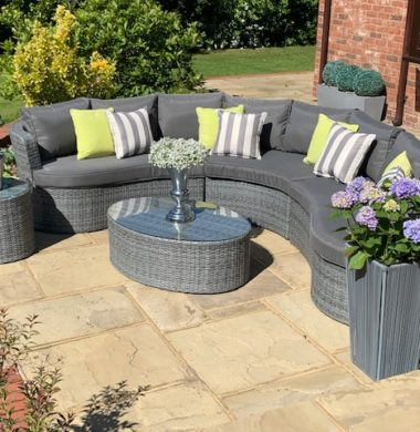 Naples Curved Rattan Complete Sofa Set in Classic Grey Weave mix