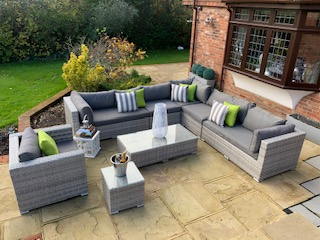 8 Piece Georgia Rattan Complete Sofa Set in Luxury Ribbon Grey Mixed Weave