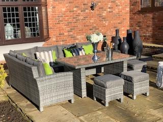 Carolina Grey Mix Weave Classic Rectangular Corner Dining Sofa set