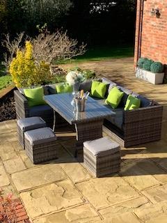 Colarado Grey/Black Mix Weave Classic Rectangular Corner Dining Sofa set