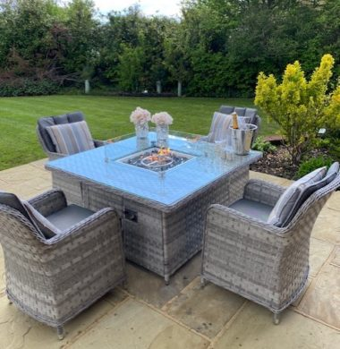 4 Columbia Armchairs 1.25mtr Square Set Grey Ribbon Luxury Mix Weave Fire Pit Set
