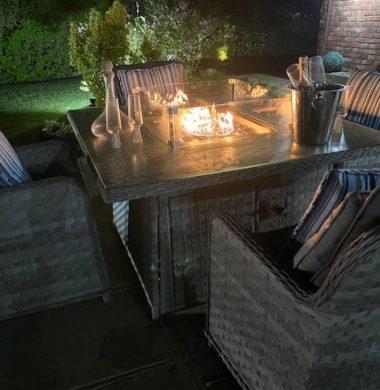 4 Portland Armchairs 1.25mtr Square Set Grey Ribbon Luxury Mix Weave Fire Pit Set
