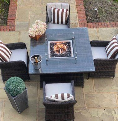 4 Portland Armchairs 1.25mtr Square Set Brown/Black Mix Weave Fire Pit Set