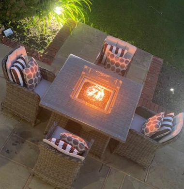 4 Portland Armchairs 1.25mtr Square Set Grey/Sand Mix Weave Fire Pit Set